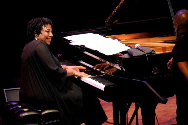 Geri Allen playing piano