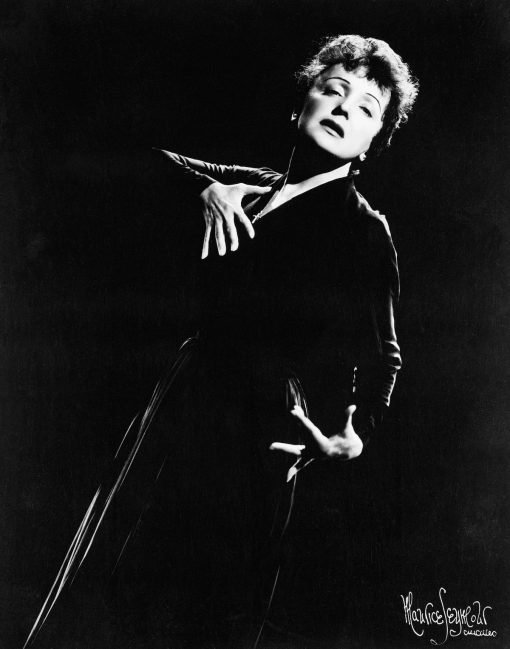 Collage Edith PIAF leaning accordion pose bw GOOD
